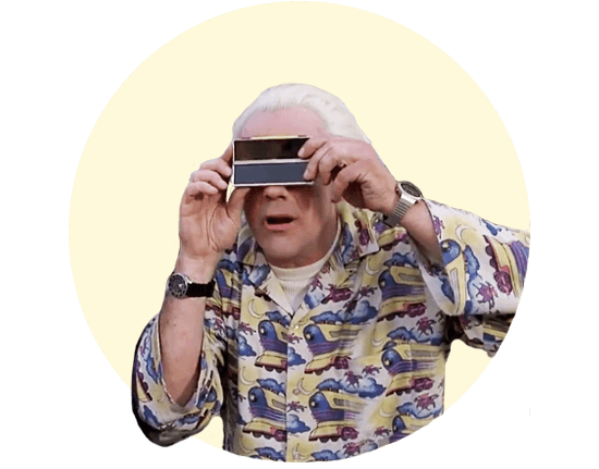Doc Brown from Back to the Future using some crazy glasses.